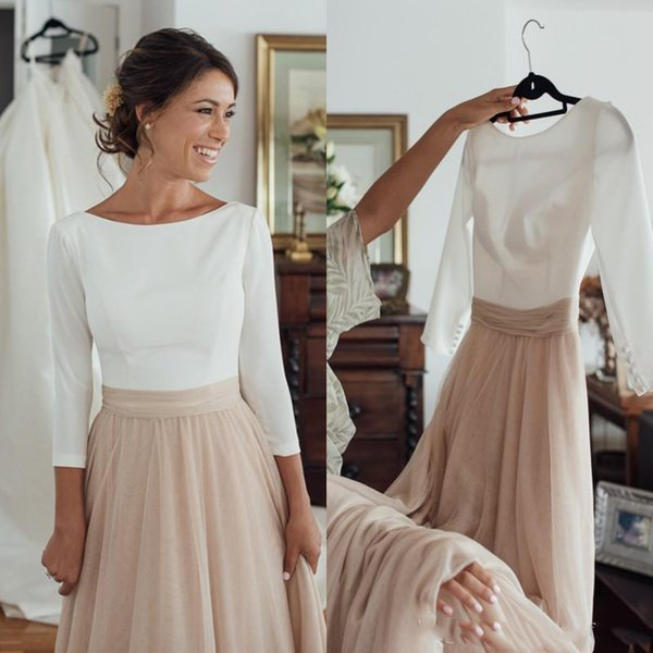 Elegant Country Champagne Wedding Dress Bateau Neck Sleeveless Backless Cheap Bridal Gowns Custom Made with Sleeves 2018