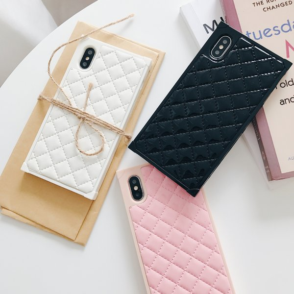 Square Lattice Leather Back Cover Stripe Print Holster Phone Shell Plaid Pattern for iPhone XS Max XR 6s 7 8 Plus 6.5