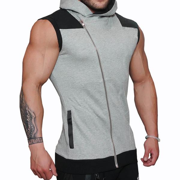 Hot 2018 Hommes Coton Sweat À Capuche Sweatshirts fitness vêtements bodybuilding débardeur hommes Sans Manches Tendance Tees Shirt Casual golds gilet