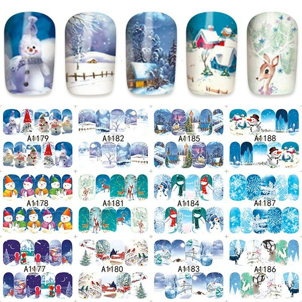 12 sheets christmas snowman winter style Nail Art Full cover Water Transfer decals NAIL STICKER SLIDER TATTOO Accessories