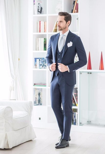 Navy Blue Latest Coat Pant Designs Men's Suits Wedding Formal Prom Slim Fit Suit Men Blazer Tuxedos 3 Piece Jacket+Pants+Vest