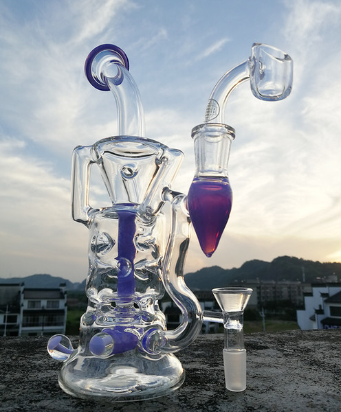 New style recycler bong with 4mm quartz banger oil rigs beaker water pipe colors tyre perc 14.4mm joint or buy smoking accessorie