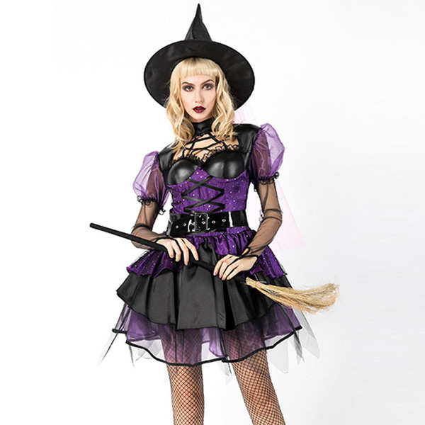 ADULT WOMEN HALLOWEEN STEAMPUNK WICKED WITCH COSTUME SEXY MINI DARK BLACK PURPLE COSPLAY DRESS HAT GOTHIC CLOTHING FOR HALLOWEEN