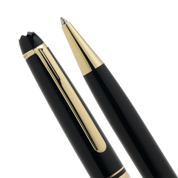 Luxury Meisterstcek 163 Black Resin Golden Silver clip Classical Ballpoint pen stationery office pens with MB Brands Germany Serial Number