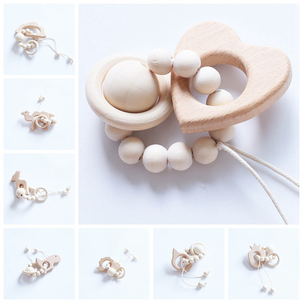 best selling 100pcs Baby Teether Rings Food Grade Beech Wood Teething Ring Teethers Chew Toys Shower Play Gym Chew Round Wooden Beads YE019