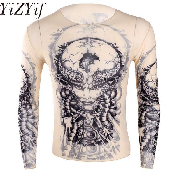 YiZYiF Mode Mens Stretchy Durchschauen Fake Tattoo Design t-shirt Top Langarm Oansatz T-Shirt für Männer Halloween Party
