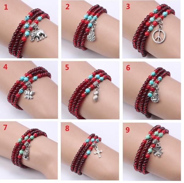 Garnet 4mm crystal Bracelet Multi-storey antique national wind Ornaments Buddhist pearl string DIY hand chain wholesale