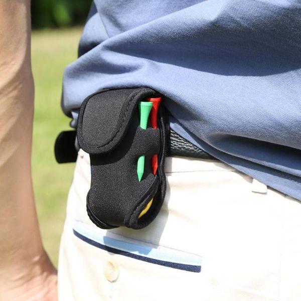 Mini Portable Golf Ball Holder Bag SBR Neoprene Waist Pack with 4 Tees+ 2 Hollow Plastic Balls Storage Bag Golf Accessories