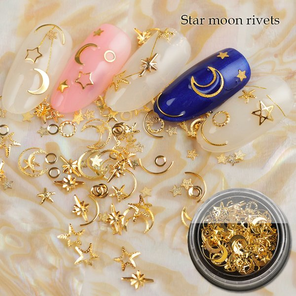 1Box Mixed AB Crystal Rhinestones Hollow Metal Studs 3d Gold Silver Moon Star Rivets Glier Decoration DIY Nail Art Accessories