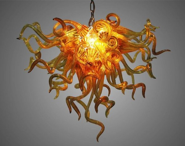Venta caliente ámbar araña de vidrio para la decoración del hogar LED fuente de luz de ahorro de energía barato estilo Chihuly mano soplado vidrio barato araña