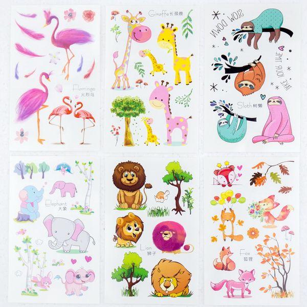 6sheets/lot Temporary Tattoos sticker arm tattoo set small cute animals Fox Lion Elephant Giraffe Flamingo girl children party