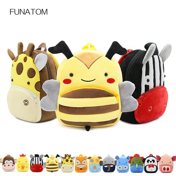 3D Cartoon Plush Children Backpacks Cartoon Girl Boys Kindergarten Schoolbag Animal Kids Backpack Children School Bags