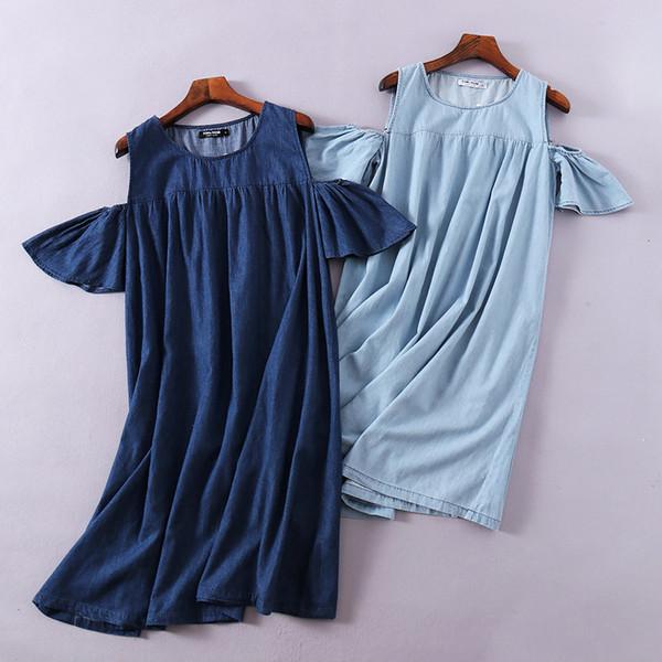 2018 yaz kadın elbiseler yeni seksi denim elbise yuvarlak boyun kazak omuzlar katı renk yıkanmış kadınların gündelik elbise