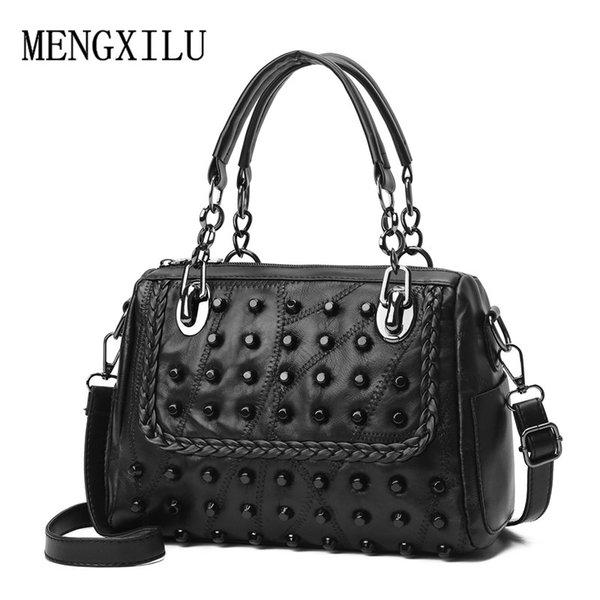 Luxury Niet Echtes Leder Weibliche Handtasche Frauen Schaffell Messenger Bags Boston Frauen Umhängetaschen Damen Umhängetasche Sac