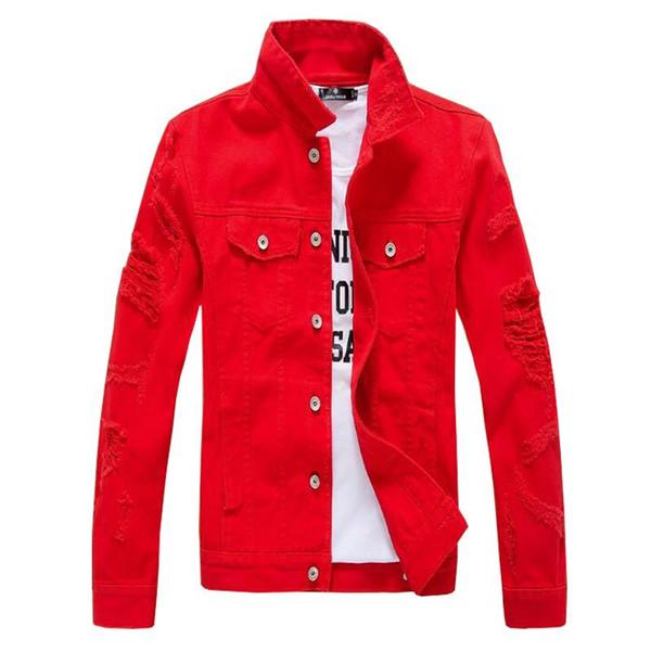 Brand designer-2018 Hip Hop Mens Denim Jacket Broken Ripped Jean Jacket Men Urban Clothes Y2019