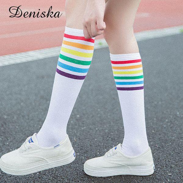 Japanese Women's Rainbow Striped Stockings Fall Cute Women Students Girls Colorful Stripes Black White Cotton Knee Socks