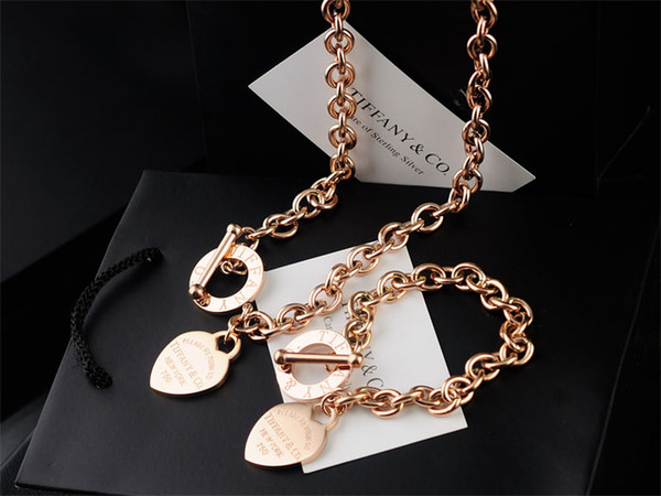 High Quality Celebrity design Letter 925 Silver Rose Gold bracelet necklace Silverware Fashion Metal Heart-shaped Jewelery Set 2pc With Box