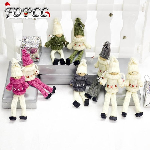 2PCS New Cute Wool Girl Dolls Christmas Decoration Pendant Ornaments Creative Angel Gift Christmas Decoration For Home Supplies Y18102609