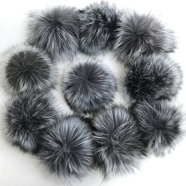 50 pieces /set 15cm real genuine silve fox fur balls key chain fur hat winter hats Fur pom for shoes 100 real cap accessories Free Shipping