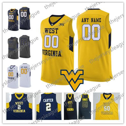 West Virginia Mountaineers Custom Any Name Any Number NCAA College  Basketball White Grey Navy Yellow Stitched  2 Jevon Carter Jerseys 86e84ad04