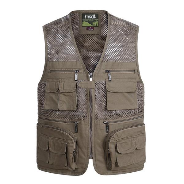 Plus Fotograf Qualityclothes Taschen Regelmäßige Große Größe Solide Sommer Weste Männer Von Mesh Casual Mit Großhandel Vielen jR5L4A