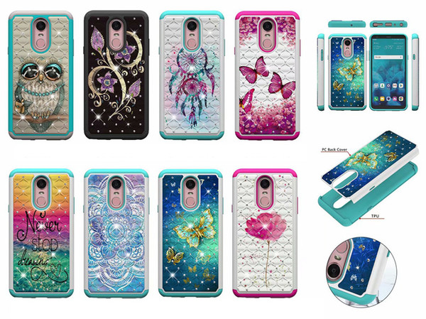 Shockproof Hard PC+TPU Case For LG Q7 V40 Stylo 4 K10 2018 K30 G7 ThinQ Aristo 2 Defender Diamond Flower Butterfly Lace Hybrid Armor cover