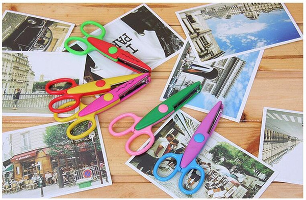 6 adet / grup Sevimli Çocuklar için DIY Dekoratif El Sanatları Makas Kağıt Kumaş Bant Kesme Fotoğraf Albümü Scrapbooking Tasarım Kesici Okul
