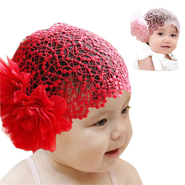 Wholesale- Modern For 6 months -2 years Baby Infant Girl Lace Flower Headband Elastic Hairband cap hat Hair Band clothes Red,Pink Oct05