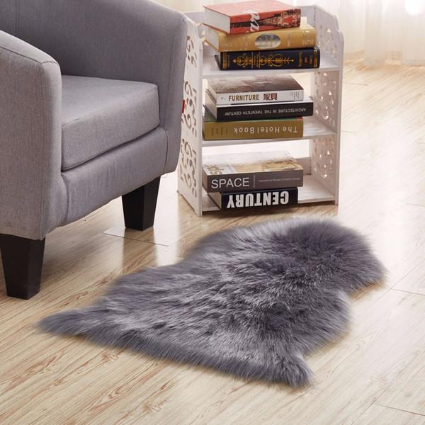 new imitation wool sofa carpet mat chair bedroom blanket faux mat seat pad plain skin fur plain fluffy area rugs home textile