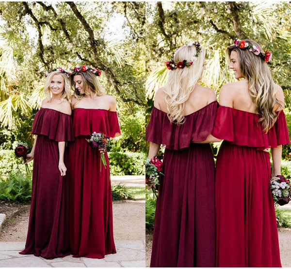 Bohemian Bridesmaid Dresses Off Shoulder A Line Long Chiffon Maid Of Honor Special Occasion Dresses For Wedding