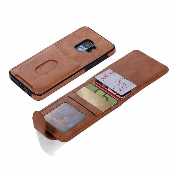 Étui détachable pour cartes de poche pour Iphone XR XS MAX X 8 7 6 Galaxy Note9 S9 S8 portefeuille en cuir Flip Vertical ID porte fente titulaire de luxe couvercle de la boîte