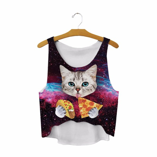 a8d2ef89a1f4d 2017 New Crop Tops Galaxy Space Cat Eating Tacos Pizza 3D Printed Women  Sleeveless Cami Gothic Tank Vest T-Shirt Tops