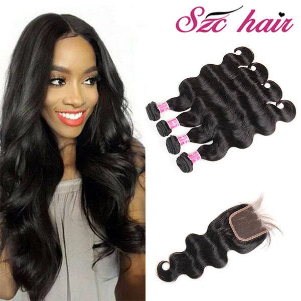 2018 Raw Indian Hair Weave Hair Bundles With Closure Body Wave