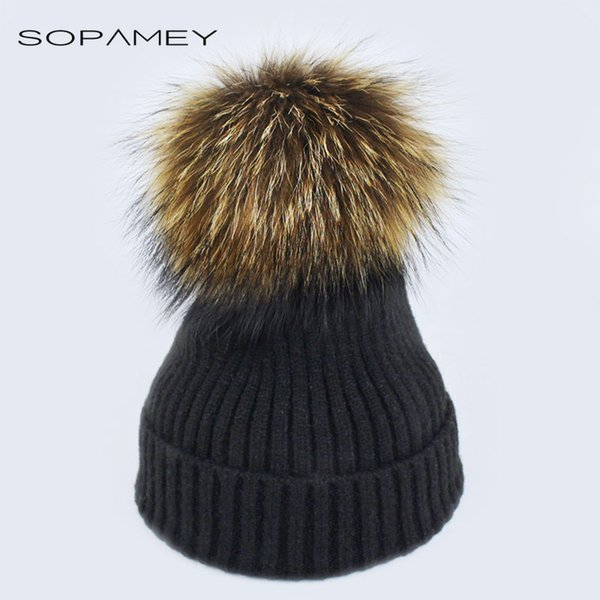 New Womens Warm Beanie Hats Winter Mink Raccoon Fur Pompom Hat Female Cap Bones High Quality Vogue Winter Caps Skullies Beanies