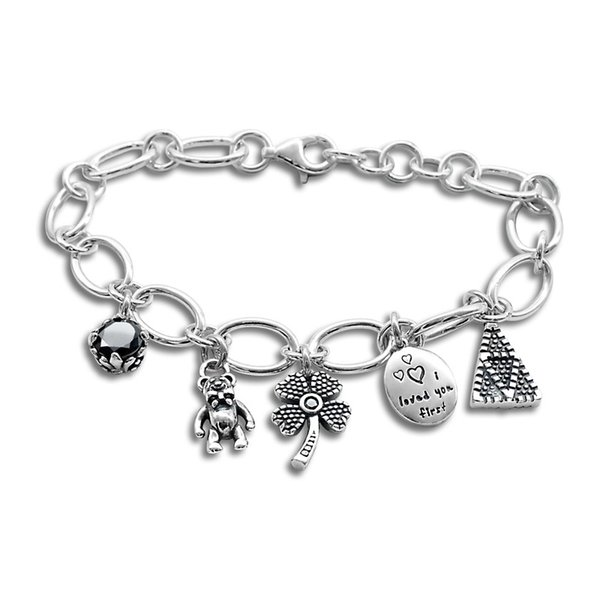 INS HOT Silver Bracelet Onxy Gems Lovely Bear Lucky Clover Heart Carved Cirlce and Triangle Band Charm Bracelet for Female