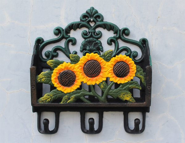Country Cast Iron Sunflower Paper Letter Newspaper Rack Holder Organizer Decorative Coat & Hat Wall Hooks Hanger Garden Home Rural Antique