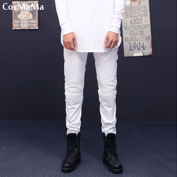 2018 CosMaMa Brand mens hip hop fancy latest design rock star super slim skinny fit pleated biker high stretch jeans pants