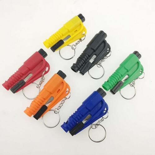 Auto Styling Tasche Auto Emergency Escape Rescue Tool Glas Fenster Brechen Sicherheitshammer mit Schlüsselbund Sicherheitsgurt Cutter