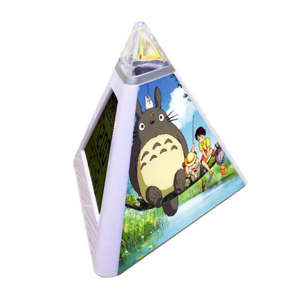 triangulo color flash alarm clock Tonari no Totoro LED Digital Alarm Clock Watch horloge digitale reloj desper Pyramidtador