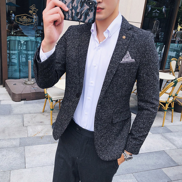 2018 Autumn Winter England Men Fashion Business Casual Slim Solid Color Western-style Suit Long Sleeve Coat Blazer Outwear Homme