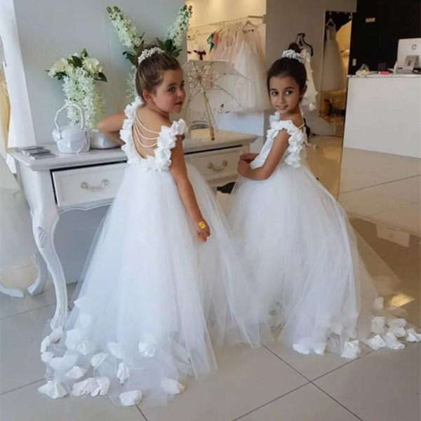 Sweet Tulle Flower Girls Dresses For Weddings Ruffles Straps Lace Appliques Backless Children Birthday Party Dress Pageant Gown