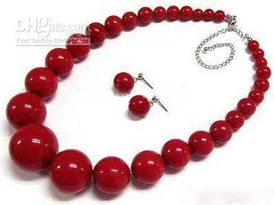"""6-14mm Red Coral Tower Round Beads 18"""" Necklace Earrings Free Shipping"""