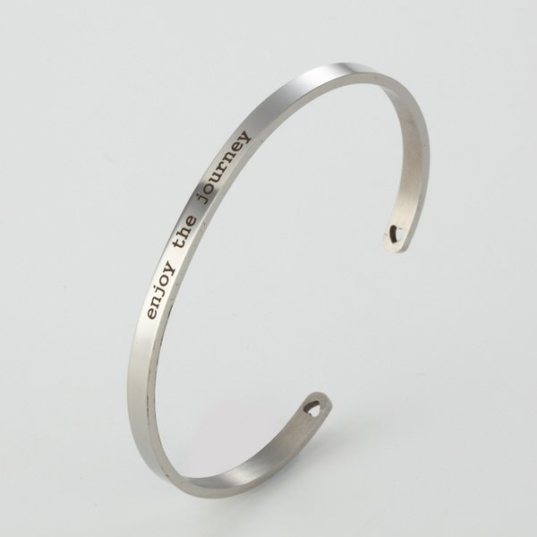 Inspirational Bracelet Classic Jewelry Lettering genießen Sie die Reise Edelstahl Armreif Schmuck Geschenk Armband 4MM