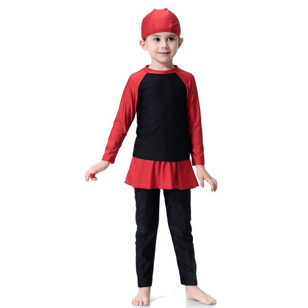 Free DHL New muslim girl swimwear modest Islamic swimsuit skirted for kids two-piece long sleeve bathing suit children's