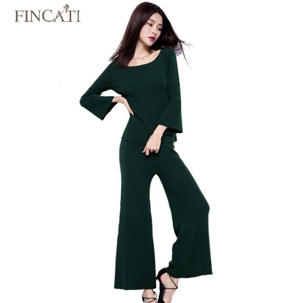Autunno inverno alta qualità Cashmere Blending Donna Due pezzi Suit Set Flare Sleeve Sweater + Wide Leg Pants Twin Set Outwear