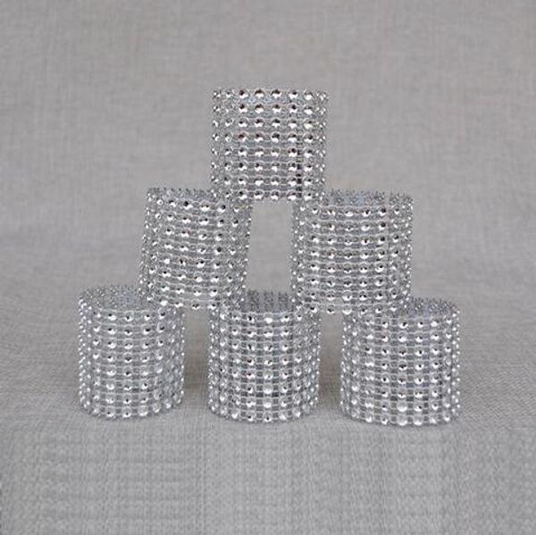 Cheap 50Pcs/Lot Plastic diamond package napkin ring napkin buckle hotel wedding supplies home decoration