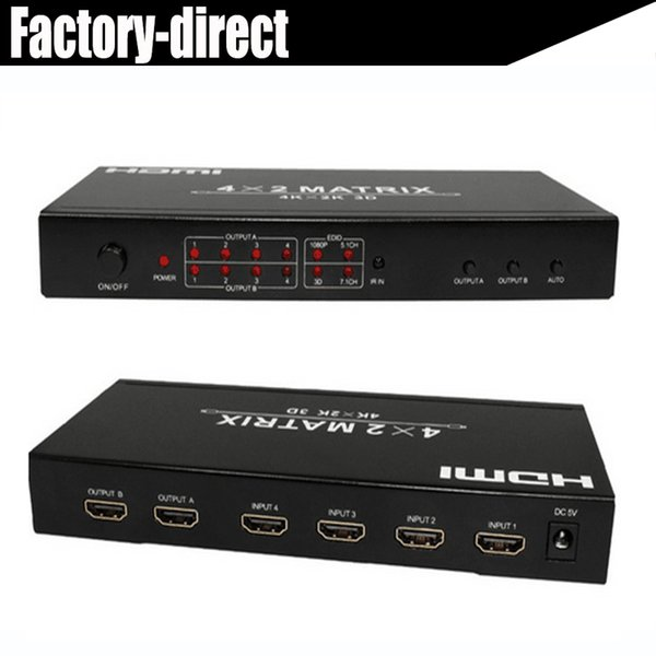 True HDMI1.4a HDMI Matrix 4X2 4 HDMI Input to 2 output supports 3D,4KX2K resolutions,48-bit deep color in retail pakcage