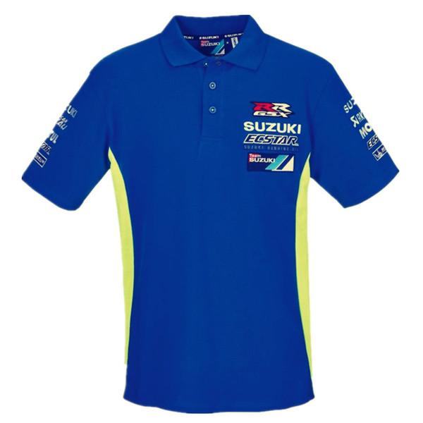 Neu 2018 Moto GP für Team ecstar Herren Polo Shirt Motorsport GSXR Herren Renn Polo Shirt Racing Bekleidung T-Shirt
