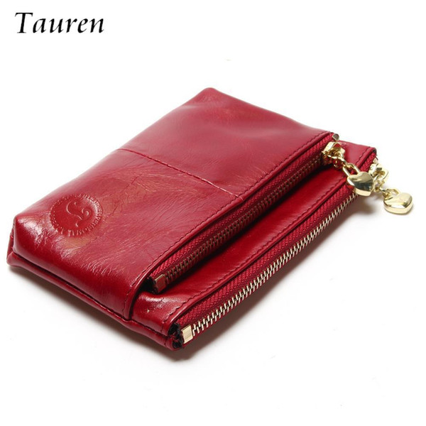 New TAUREN Small Wallet Genuine Leather Women Mini Wallet Oil Wax Leather Coin Purse Coin Credit Card Holder With Metal Ring