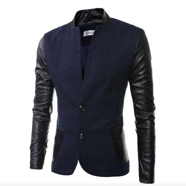 Mens  Style Jackets Men's Fashion High-end Fashion Personality Mosaic Shortage Of Money Wool Men Coat